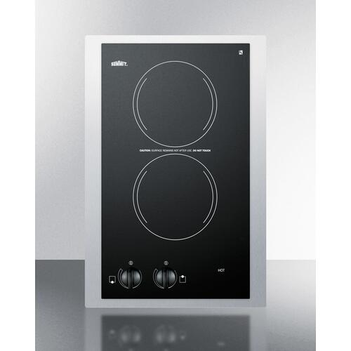 """Summit - 115v European Two-burner Radiant Cooktop In Black Glass With Stainless Steel Frame To Allow Installation In 15"""" Wide Counter Cutouts"""