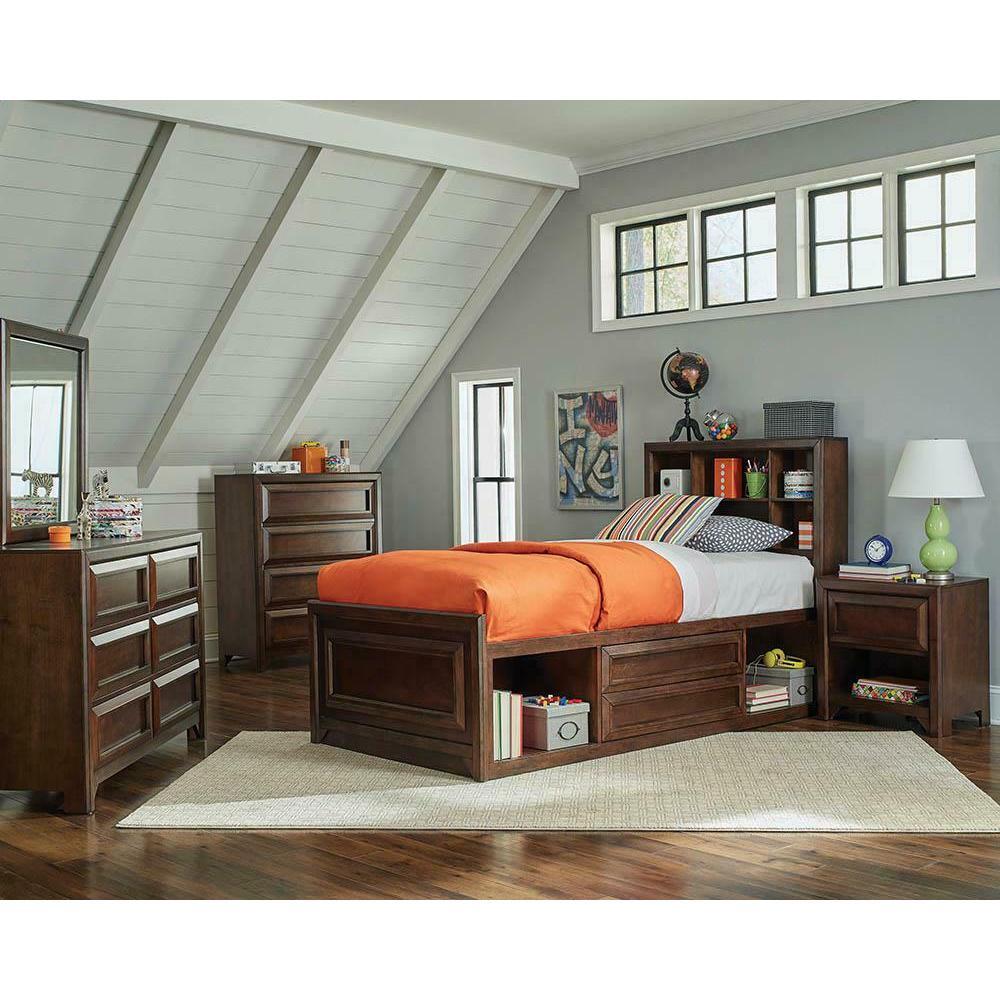 Greenough Transitional Maple Oak Twin Storage Bed