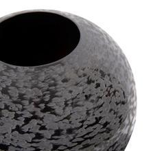 View Product - Chiseled Texture Black Iron Globe Vase, Small