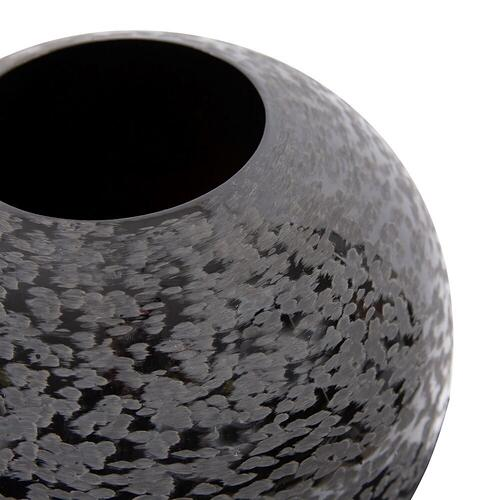 Howard Elliott - Chiseled Texture Black Iron Globe Vase, Small
