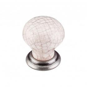 Ceramic Small Knob 1 1/8 Inch - Pewter Antique