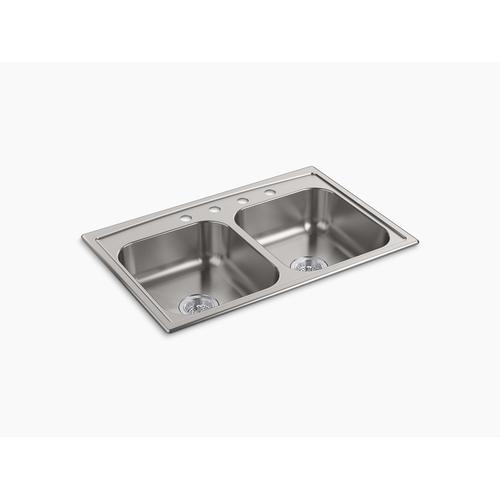 "33"" X 22"" X 6"" Top-mount Double-equal Bowl Kitchen Sink"