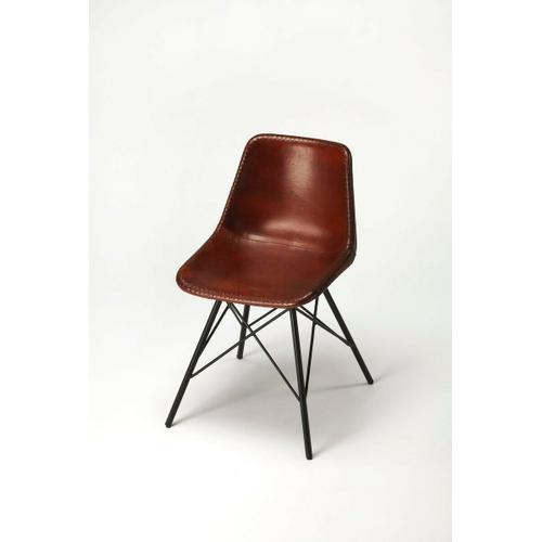 Butler Specialty Company - Mid-century modern with a contemporary twist: this go-everywhere molded chair form gets an upgrade with a stitched leather cover and sturdy black iron frame. Think home office, dining room or dorm!