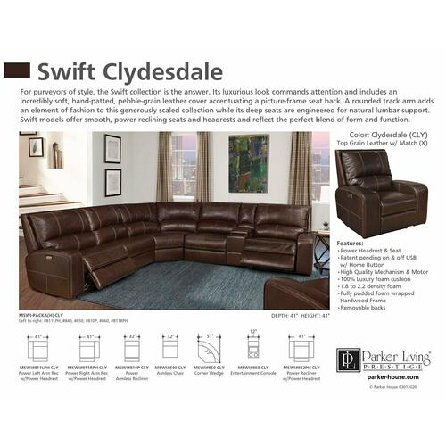 Parker House - SWIFT - CLYDESDALE Power Left Arm Facing Recliner