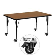Mobile 24''W x 48''L Rectangular Oak Thermal Laminate Activity Table - Height Adjustable Short Legs