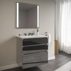 """Curated Cartesian 24"""" X 7-1/2"""" X 21"""" and 24"""" X 15"""" X 21"""" Three Drawer Vanity In Tinted Gray Mirror Glass With Tip Out Drawer, Slow-close Plumbing Drawer, Full Drawer and Engineered Stone 25"""" Vanity Top In Silestone Lyra Product Image"""