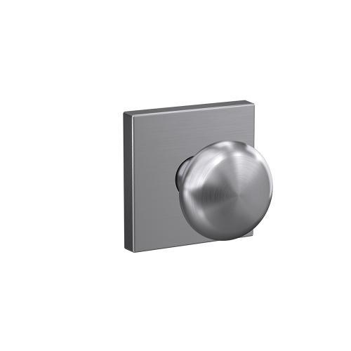 Custom Plymouth Knob with Collins Trim Hall-Closet and Bed-Bath Lock - Satin Chrome