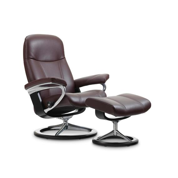 Stressless By Ekornes - Stressless Consul Small Signature Base Chair and Ottoman