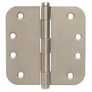 "Door Hardware  4"" Round Hinge 5/8"""" Radius - Satin Nickel Product Image"