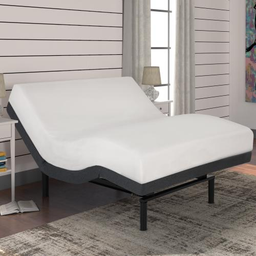 Leggett and Platt - S-Cape 2.0 Adjustable Bed Base with Wallhugger Technology and Full Body Massage, Charcoal Gray Finish, Twin