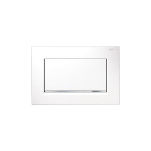 Sigma30 Stop-and-go flush plates for Sigma series in-wall toilet systems Matte white with polished chrome accent Finish