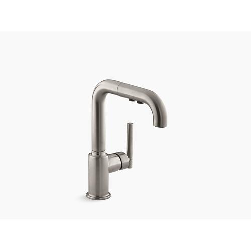 """Vibrant Stainless Single-hole Kitchen Sink Faucet With 7"""" Pull-out Spout"""