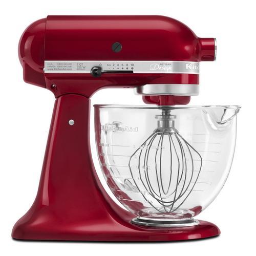 KitchenAid - Artisan® Design Series 5 Quart Tilt-Head Stand Mixer with Glass Bowl Grenadine