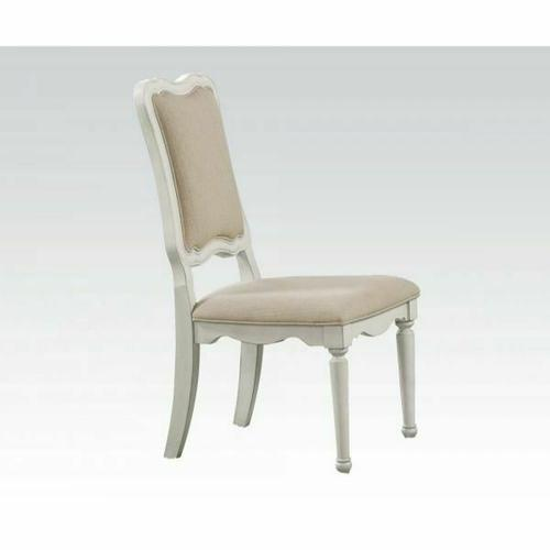 ACME Morre Chair - 30814 - Beige Linen & Antique White