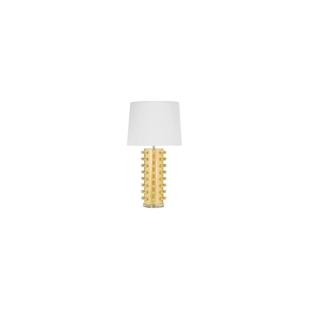 Shedding Light On Serious Style, Our Anita Table Lamp Looks Downright Gorgeous Day or Night. the Round Base Is Dotted With Hand Leafed Gold Balls and Topped With A Crisp White Linen Shade. A Slim, Streamlined Acrylic Pedestal Base Finishes the Stylish Look.