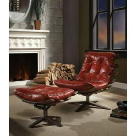 ACME Gandy 2Pc Pack Chair & Ottoman - 59531 - Antique Red Top Grain Leather