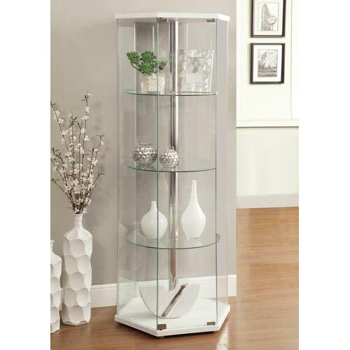 Traditional Glass Hexagon Curio Cabinet