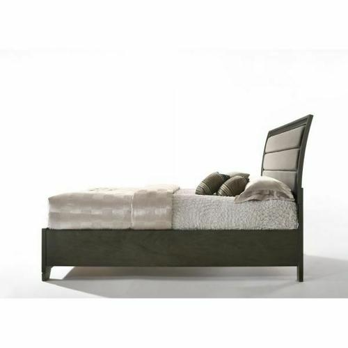 ACME Soteris Eastern King Bed w/Storage - 26537EK - Gray Fabric & Antique Gray