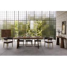 View Product - Modrest Selena Modern Acacia & Brass Dining Table