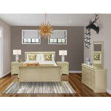 West Furniture Louis Philippe 5 Piece Queen Size Bedroom Set in Metallic Gold Finish with Queen Bed,2 Nightstands ,Dresser, Mirror,