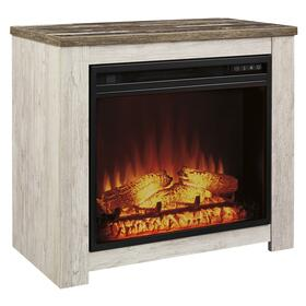 See Details - Willowton Fireplace Mantel w/Fireplace Insert Whitewash