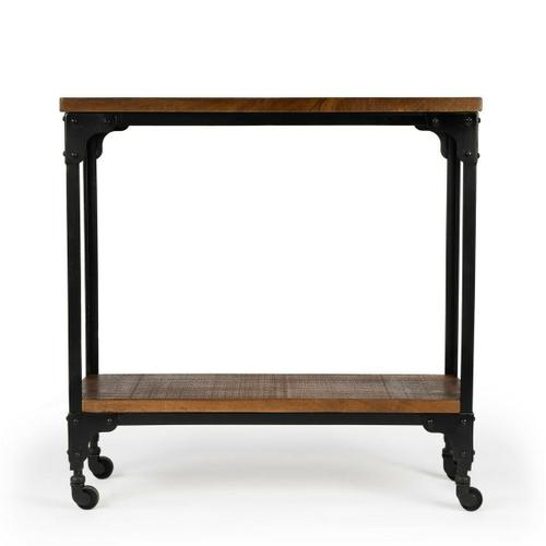 Hand-crafted from iron and mango wood, this rustic console table on casters offers a portable option for serving guests. It offers a tabletop display and a matching lower display shelf. Its black iron frame and burnt umber wood finish are complimentary