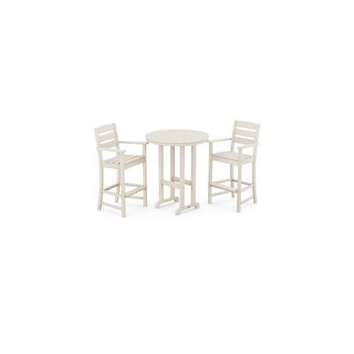 Polywood Furnishings - Lakeside 3-Piece Round Bar Arm Chair Set in Sand