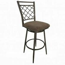 "ACME Aldric Bar Chair w/Swivel (Set-2) - 96032 - Fabric & Antique - 30"" Seat Height"