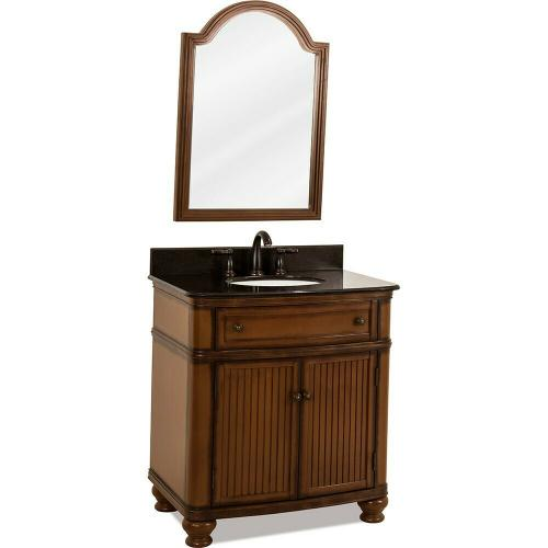 """32"""" Walnut vanity with Antique Brushed Satin Brass hardware, bead board doors, curved front, and preassembled Black Granite top and oval bowl"""