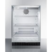 Built-in Undercounter Commercial Glass Door Beverage Refrigerator Designed for the Display and Refrigeration of Beverages or Sealed Food, With Digital Controls, Lock, and Black Cabinet