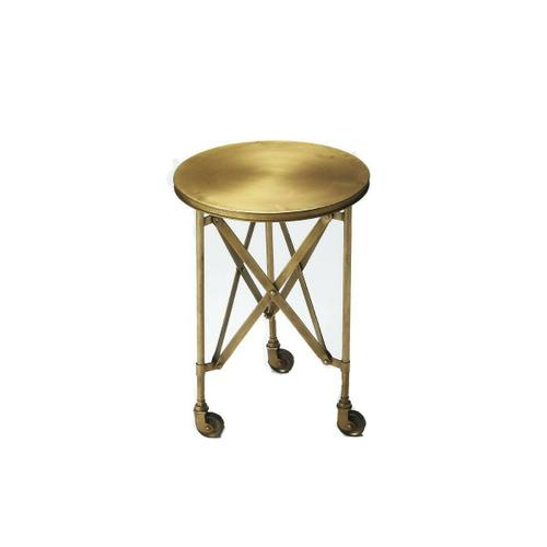 Crafted from iron and perched on rolling casters; this gold toned industrial chic accent table evokes the charm of a by-gone era. This table features a distinctive interlaced base linking legs and table top.