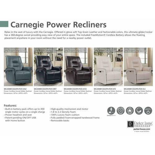 Parker House - CARNEGIE - VERONA LINEN Power Cordless Swivel Glider Recliner