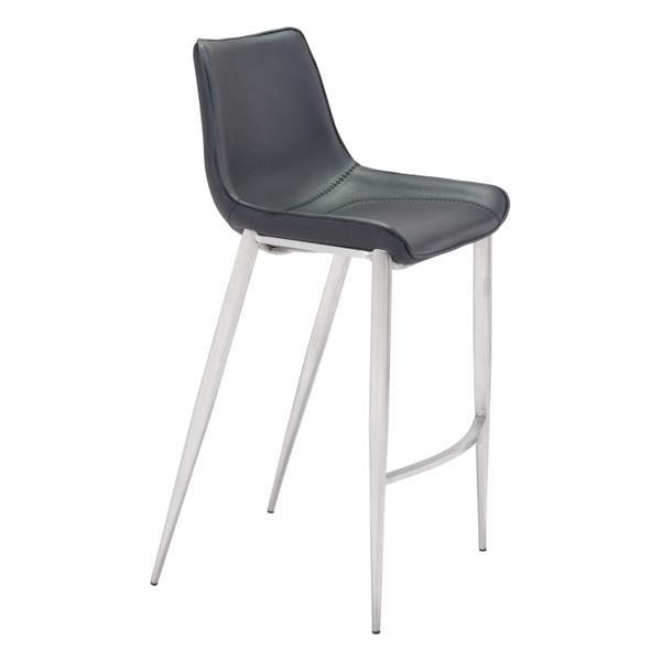 See Details - Magnus Bar Chair Black & Silver
