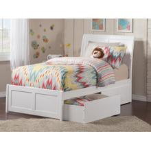 Portland Twin XL Bed with Matching Foot Board with 2 Urban Bed Drawers in White