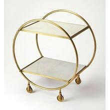 Build a home bar that's just as stylish as it is ideal for entertaining with this eye-catching cart. Founded atop four castered feet for easy mobility between the den and dining room, this piece features a circular frame crafted from iron with a striking antique gold finish. Its two rectangular tiers offer marble tiers, lending elegance to your display of filled decanters and food trays, so you can both serve and display.
