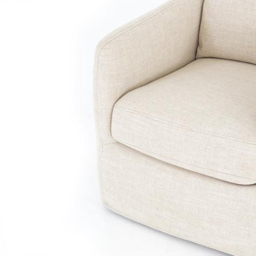 Cambric Ivory Cover Banks Swivel Chair