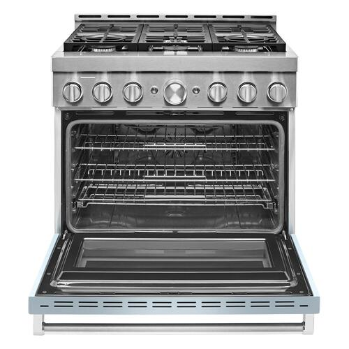 KitchenAid® 36'' Smart Commercial-Style Gas Range with 6 Burners Misty Blue