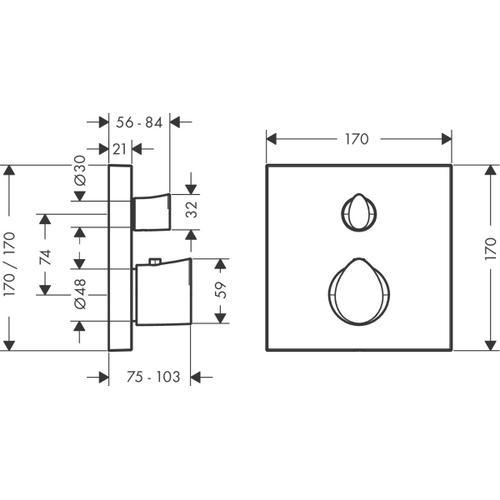 Brushed Red Gold Thermostat for concealed installation with shut-off/ diverter valve