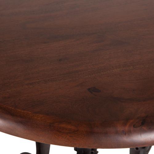 "Industrial Loft 24"" Adjustable Round Table in Walnut"