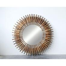 """See Details - 48"""" Round x 1-1/2""""H Found Wood Roti Pins Mirror"""