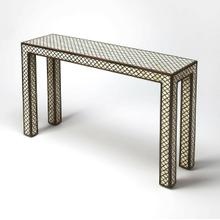 Indulge your contemporary design fantasies with this stunningbone inlay console table. We can't take our eyes off of its uber-modern form and fabulous mix of materials. Sleek lines and a slim profile boost its luxurious aesthetic. Appreciate the stunnin