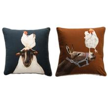 """See Details - 20"""" Square Cotton Pillow with Farm Animals, 2 Styles"""