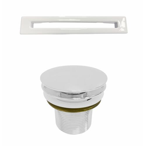 """Sheldon 59"""" Acrylic Tub with Integral Drain and Overflow - White Powder Coat Drain and Overflow"""