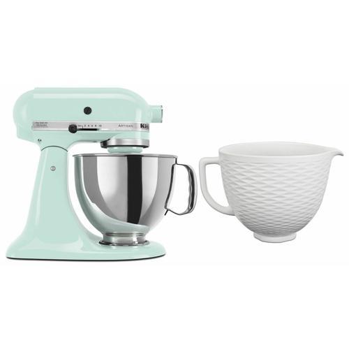 KitchenAid - Exclusive Artisan® Series Stand Mixer & Ceramic Bowl Set - Ice
