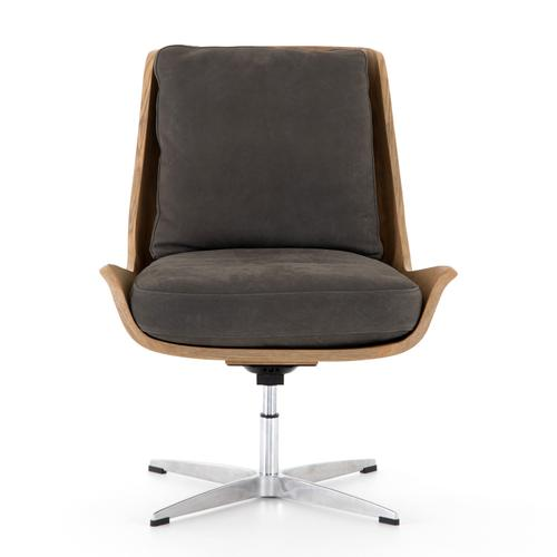 Nubuck Charcoal Cover Burbank Swivel Chair