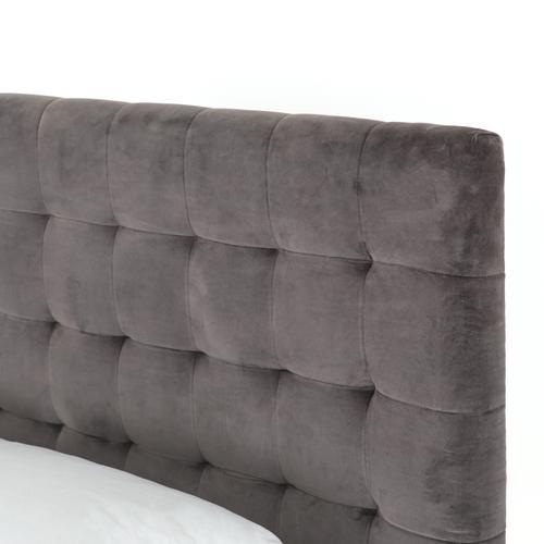 Queen Size Grey Velvet Cover Rennie Bed
