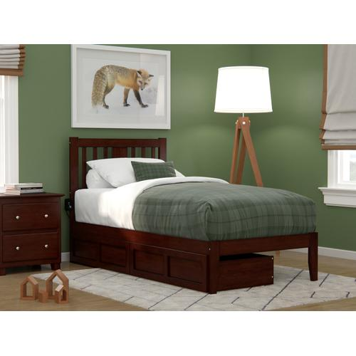 Atlantic Furniture - Tahoe Twin Bed with USB Turbo Charger and 2 Drawers in Walnut