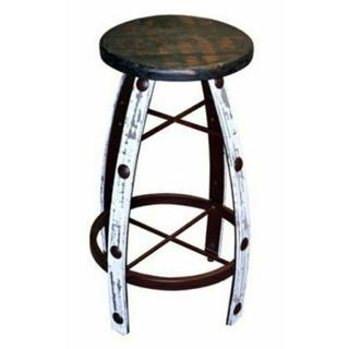 See Details - Iron & Wood White Scraped Barstool