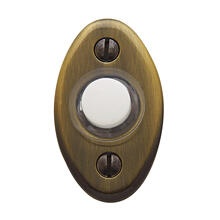 Satin Brass and Black Oval Bell Button