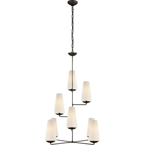 Visual Comfort - AERIN Fontaine 8 Light 34 inch Aged Iron Vertical Chandelier Ceiling Light